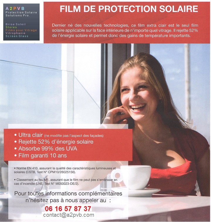 Film de protection solaire ultra clair for Film protection solaire fenetre